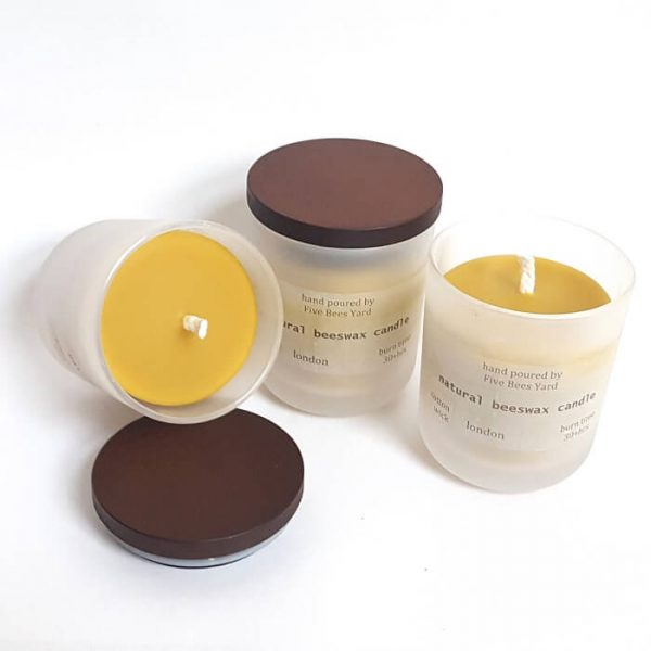 container beeswax candle