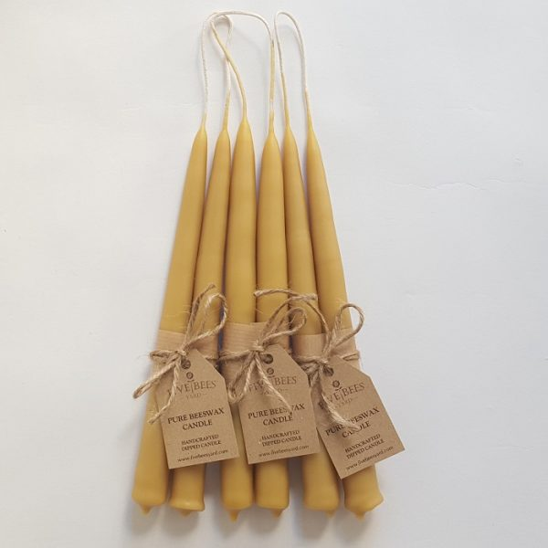 Pure Beeswax Tall Candles with Personalised Tags
