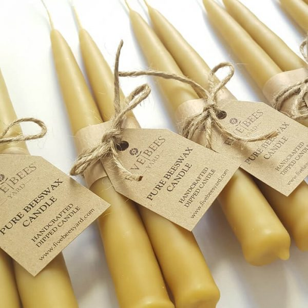 handmade beeswax taper candle