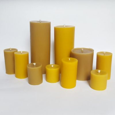 Selection of pillar beeswax candles