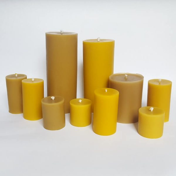 Selection of pillar beeswax candles