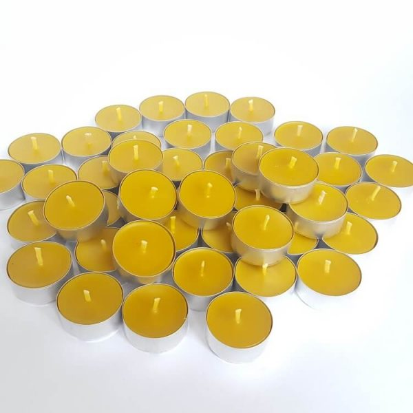 Beeswax tea light burning long and clean