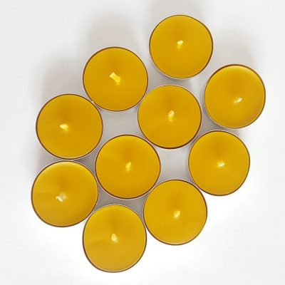 yellow beeswax tealights with cotton wick